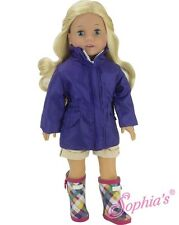 "Purple Parka Jacket Coat & Rain Wellies Boots Shoes fit 18"" American Girl Doll"