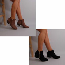 Zip Block Heel Faux Suede Upper Shoes for Women