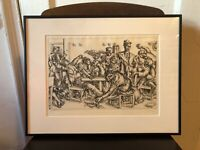 Paul Cadmus Stewart's 1934 Etching Print Satire Signed Gay Homoerotic WPA Art