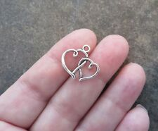 10 DOUBLE HEART Charms Intertwined Love Hearts Jewelry Supplies 19x16 Wedding