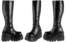 Size 12 DEMONIA Shaker 100 Black Boot Platform Knee High Wedge Goth Punk Lolita
