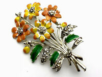 Vintage Exquisite Silver Tone Floral Bouquet Brooch GIFT BOXED