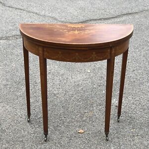 Edwardian Mahogany & Marquetry inlaid Games Table