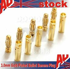 5 Pairs 3.0mm Gold Plated Bullet Banana Plug Connector for RC Battery electric