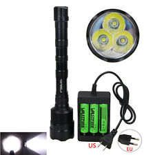 TrustFire 3800 Lm 3x XM-L T6 LED Flashlight Torch 3x 18650 battery Charger