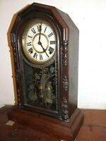 ANTIQUE ANSONIA  MANTLE WALNUT  CLOCK, USA RESTORED WORKING VGC C.1900'S