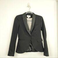 H&M Size 4 Black Blazer Women's Lined Jacket Single Button