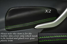 GREEN STITCH 2X FRONT DOOR ARMREST SKIN COVERS FITS FORD FIESTA 09-12 3DR