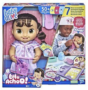 Baby Alive Lulu Achoo Baby Doll - Brown Hair - 50+ Reactions by Hasbro