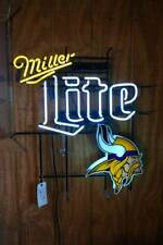 """New Miller Lite Minnesota Vikings Beer Neon Light Sign 32""""x24"""" Glass Bar"""