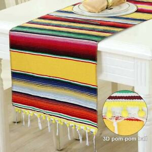 Mexican Table Runner with Tassel Fringe Cotton Striped Runner Mexican Party Deco