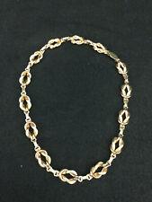 K Gold Fill Link Choker Necklace Vintage 1940's Art Deco .925 & 12