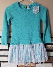 Dollie & Me Girls Drop Waist Lace Skirted Dress Size 10 Sweater Bodice