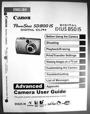 Canon Powershot SD800 IS IXUS 850 IS  Digital Camera User Guide Manual