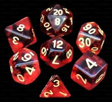 7 Piece Polyhedral Dice Set - Demon Mist Translucent Deep Red - Burgundy Bag