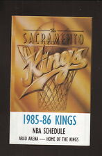 Sacramento Kings--1985-86 Pocket Schedule--KFBK--1st Season