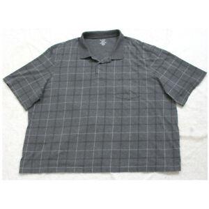 George Pocket Polo Shirt Gray Short Sleeve 3-Button Top Cotton Poly 3XL XXXL Man