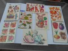 Vintage Meyercord Decal Lot Swans Bunny Frogs Babies Flowers Humpty Dumpty Band