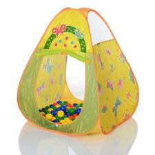 Pop Up Children Playhouse Tent + 100 balls Garden Indoor Outdoor yellow