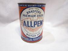 Vintage ALL PEN Motor Oil Can 1 quart  ALLPEN metal can Bradford Premium Crude