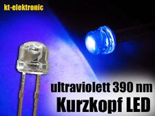 10 Stück LED 5mm straw hat UV ultraviolett, Kurzkopf, Flachkopf 110°