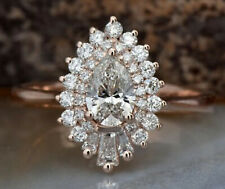 3.21ct Pear Cut Diamond Engagement Ring Solid 14k Rose Gold Prong Set