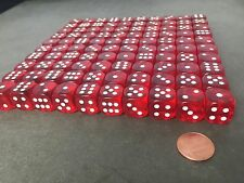 Set of 100 Six Sided D6 16mm Standard Rounded Translucent  Dice Die - Red