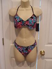 NWT $79 Material Girl Black Floral Print 2 pc Bra & bikini swimsuit Size Medium
