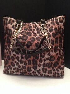 NWT JUICY COUTURE WEEKEND WARRIOR YHRUS080 LEOPARD QUILTED W/GOLD CHAIN