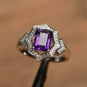 2.80Ct Emerald Cut Amethyst Halo Engagement Ring Solid 14K White Gold Finish