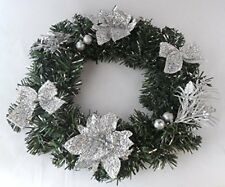 "Meduim 12"", 30cm Silver Poinsettia style Wreath, Hanging Wreath Xmas Decoration"