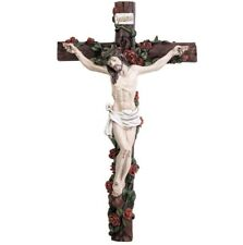 Wall Crucifix with Roses 12 1/2 Inches Tall D1199