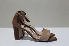 sz 8 / 38 Manolo Blahnik Lauratopri Brown Suede Sandal Open Toe Wood Heel Shoes