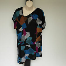 'TS-TAKING SHAPE' BNWT SIZE 'XXS' (12) MULTI COLOURED PRINT CAP SLEEVE TOP
