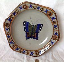 Grand plat ART DECO faïence polychrome Décor papillon Art Mexicain Vintage