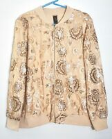 NWT $199 Chico's Black Label Sequined & Embroidered Bomber Jacket, Dusty Sand