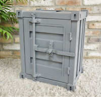 Metal Industrial Shipping Container Style Grey Bedside Cabinet Table 46x55x35cm