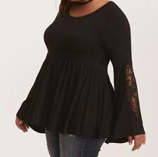 Torrid Super Soft Lace Inset Bell Sleeve Babydoll Top Black 3X 22 24 #15436
