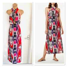 Karen Millen Colourful Abstract Summer Beachwear Maxi Dress Uk Size 14-16