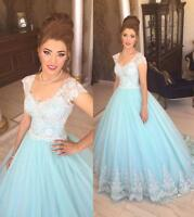 Appliques Lace Short Sleeve Wedding Dress 2016 Light Blue Ball Gown Bridal Gowns