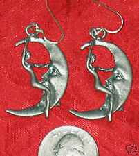 UNUSUAL WICCAN LEAD FREE PEWTER LADY RIDING THE MOON DANGLE EARRINGS