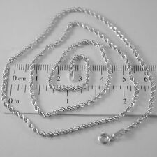 18K WHITE GOLD CHAIN NECKLACE BRAID ROPE LINK 17.72 INCHES, 2.5 MM MADE IN ITALY