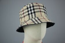 Burberry Nova Check Denim Cotton Navy Two-sided  Bucket Hat Cap Size S-M