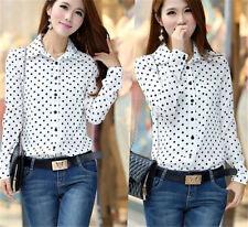 New Womens Chiffon Shirt Polka Dot Long Sleeve Loose Tops Blouse Casual T Shirt