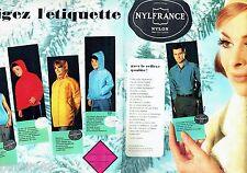 PUBLICITE ADVERTISING 116  1962  Nylfrance  (2p)  tricots anorak bonnet manteau