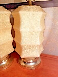 《》  Vintage Mid-century Glass Lamps Set of Two   《》
