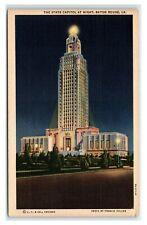 Postcard The State Capitol at Night, Baton Rouge LA 1941 E53
