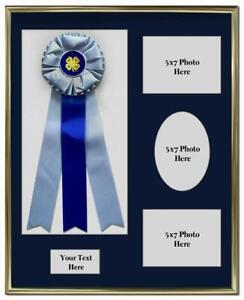 Award Display Shadow Box for Ribbons and Three 5x7 Photos Wall hanging Blue