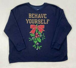 JUST MY SIZE Womens Size Plus Ugly Christmas Sweatshirt