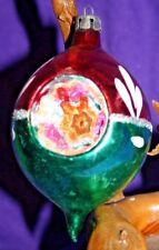 Vintage Blown Glass Deep Indent Teardrop Christmas Ornament ~ Poland